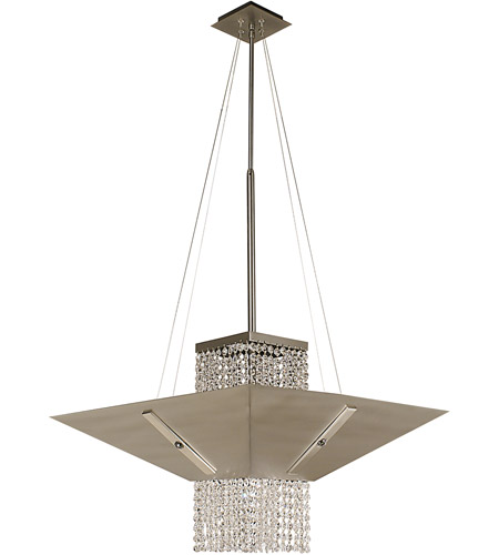 HA Framburg Gemini 1 Light Dining Chandeliers in Satin Pewter/Polished Nickel/Teak Crystal 2005SP/PN/T photo