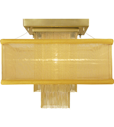 Framburg 2111SB/GLD Gymnopedie 1 Light 14 inch Satin Brass Semi-Flush Mount Ceiling Light in Gold Sheer photo