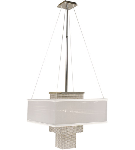 HA Framburg Gymnopedie 1 Light Dining Chandeliers in Polished Silver/Sheer White 2116PS/SWH photo