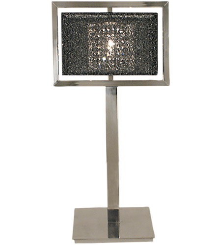 HA Framburg Chloe 1 Light Table Lamp in Polished Silver w/ Black Mesh Shade 2335PS/BM photo