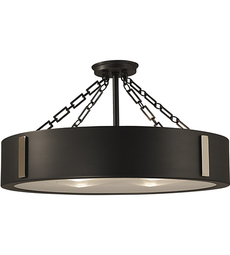 HA Framburg Oracle 4 Light Semi-Flush Mount in Charcoal w/ Polished Nickel Accents 2412CH/PN photo