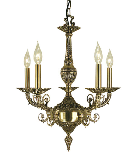 HA Framburg Napoleonic 5 Light Dining Chandelier in French Brass 2875FB photo