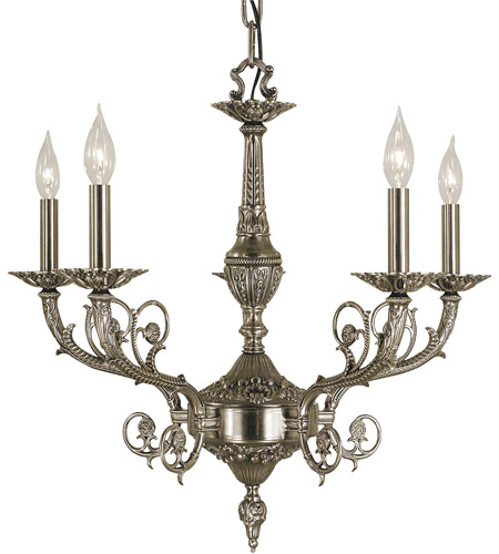HA Framburg Napoleonic 5 Light Dining Chandelier in Antique Silver 2877AS photo