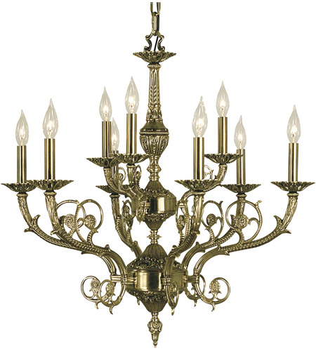 HA Framburg Napoleonic 9 Light Dining Chandelier in French Brass 2879FB photo