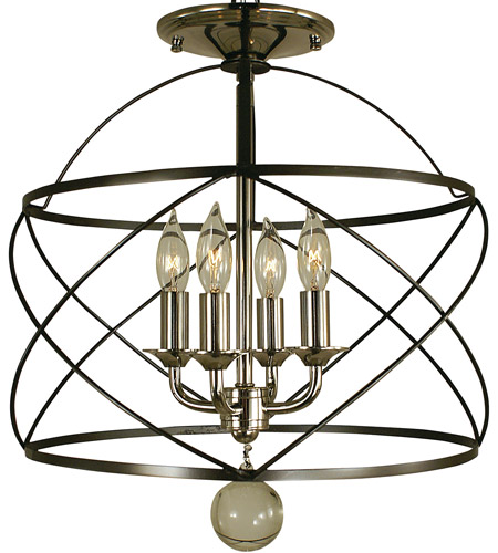 Nantucket 4 Light 13 Inch Mahogany Bronze And Polished Nickel Semi Flush Mount Ceiling