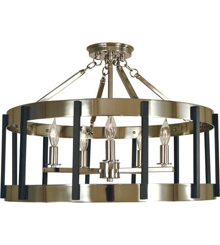 Framburg 4666pn Mblack Pantheon 5 Light 22 Inch Polished Nickel With Matte Black Semi Flush Mount Ceiling In