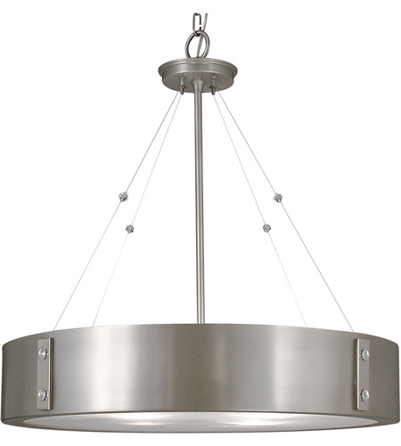 Framburg 5395SP/PN Oracle 4 Light 23 inch Satin Pewter with Polished Nickel Dining Chandelier Ceiling Light photo