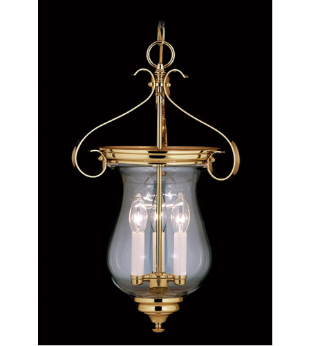 Framburg 7573PB Jamestown 3 Light 13 inch Polished Brass Foyer Chandelier Ceiling Light photo