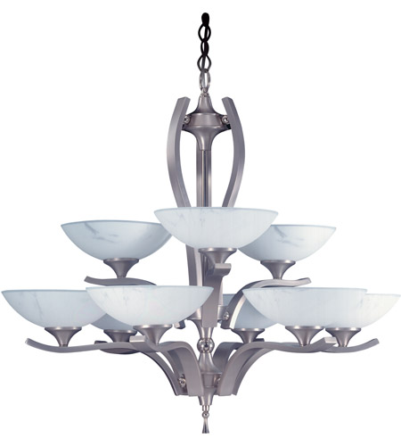 HA Framburg Solstice 9 Light Chandelier in Satin Pewter/Polished Nickel 8809SP/PN photo