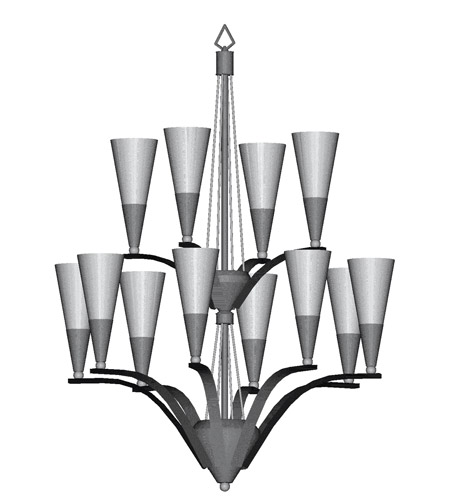 HA Framburg Syzygy 12 Light Foyer Chandeliers in Brushed Stainless/Polished Nickel 8828BS/PN photo