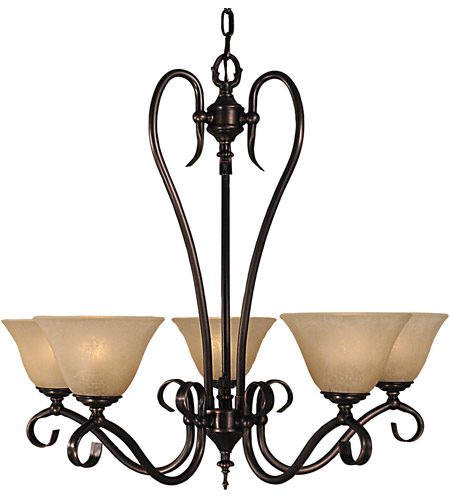 Framburg 9155SBR/CM Black Forest 5 Light 28 inch Siena Bronze Dining Chandelier Ceiling Light in Sienna Bronze, Champagne Marble photo