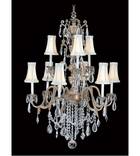 HA Framburg 9289HB/BEIGE Czarina 9 Light 34 inch Harvest Bronze/Beige Foyer Chandelier Ceiling Light photo