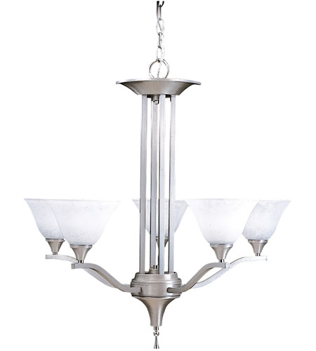 Framburg 9305BS/PN Bellevue 5 Light 28 inch Brushed Stainless with Polished Nickel Dining Chandelier Ceiling Light photo