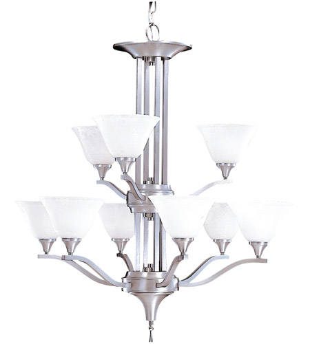 HA Framburg Solstice 9 Light Chandelier in Brushed Stainless/Polished Nickel 9309BS/PN photo