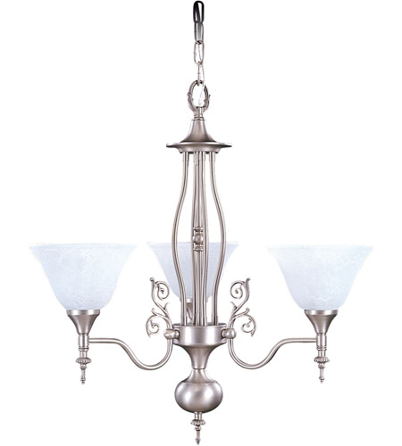 Framburg 9423SP/WH Black Forest 3 Light 24 inch Satin Pewter Dinette Chandelier Ceiling Light in White Marble photo