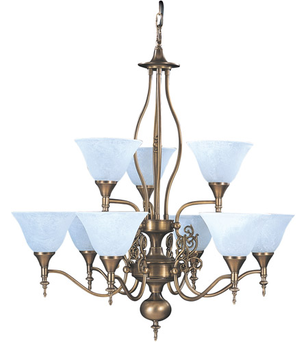 HA Framburg Black Forest 9 Light Chandelier in Harvest Bronze/White Marble 9429HB/WH photo