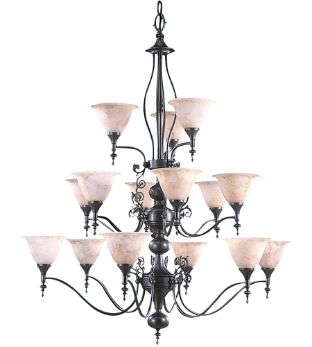 HA Framburg Black Forest 15 Light Foyer Chandelier in Mahogany Bronze/Amber Marble 9435MB/AM photo