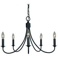 Maisonette 5 Light 24 inch Matte Black Chandelier Ceiling Light