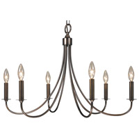 Maisonette 6 Light 28 inch Roman Bronze Chandelier Ceiling Light