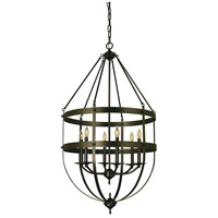HA Framburg Hannover 6 Light Foyer Chandelier in Mahogany Bronze 1018MB