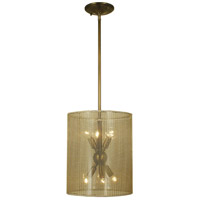 Simone 6 Light 11 inch Antique Brass Mini Chandelier Ceiling Light