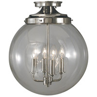 Moderne 4 Light 14 inch Polished Silver Semi-Flush Mount Ceiling Light