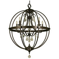 Compass 5 Light 29 inch Mahogany Bronze Foyer Chandelier Ceiling Light
