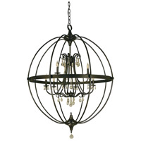 HA Framburg Compass 9 Light Foyer Chandelier in Mahogany Bronze 1070MB