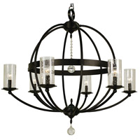 Compass 6 Light 33 inch Matte Black Foyer Chandelier Ceiling Light