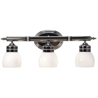 HA Framburg Princessa 3 Light Bath Light in Polished Silver  w/ Ebony Accents 1083PS/EB