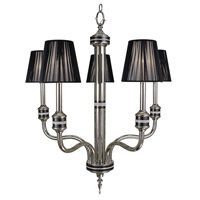 HA Framburg Princessa 5 Light Chandelier in Polished Silver  w/ Ebony Accents 1085PS/EB