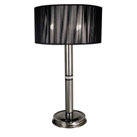 HA Framburg Princessa 3 Light Table Lamp in Polished Silver  w/ Ebony Accents 1087PS/EB