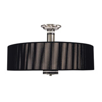 HA Framburg Princessa 3 Light Semi-Flush Mount in Polished Silver  w/ Ebony Accents 1088PS/EB