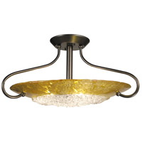 HA Framburg Brocatto 3 Light Semi-Flush Mount in Mahogany Bronze/Gold Leaf 1098MB/GL photo thumbnail