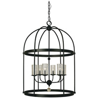 Compass 6 Light 30 inch Matte Black Foyer Chandelier Ceiling Light