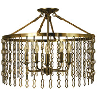 Warwick 5 Light 22 inch Antique Brass Semi-Flush Mount Ceiling Light