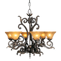 HA Framburg Centennial 6 Light Chandelier in Mahogany Bronze w/ Cognac Piastra 1125MB/CP