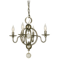 HA Framburg Quatrefoil 4 Light Mini Chandelier in Brushed Nickel 1159BN