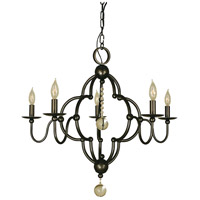 Quatrefoil 5 Light 28 inch Mahogany Bronze Dining Chandelier Ceiling Light