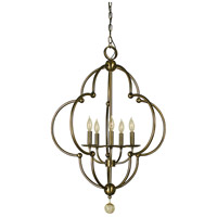 Quatrefoil 5 Light 27 inch Antique Brass Dining Chandelier Ceiling Light