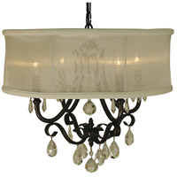 HA Framburg Liebestraum 4 Light Dining Chandelier in Mahogany Bronze with Sheer Cream Shade 1234MB/SC