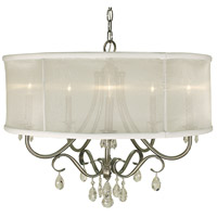 HA Framburg Liebestraum 5 Light Dining Chandelier in Brushed Nickel with Sheer White Shade 1236BN/SWH
