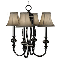 HA Framburg Princessa 4 Light Mini Chandelier in Ebony w/ Silver Beige Shade  1294EBONY