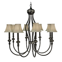 HA Framburg Princessa 8 Light Foyer Chandelier in Ebony w/ Silver Beige Shade  1298EBONY