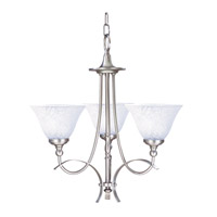 HA Framburg Black Forest 3 Light Chandelier in Satin Pewter/White Marble 1483SP/WH