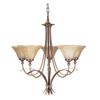 HA Framburg Black Forest 5 Light Chandelier in Harvest Bronze/Champagne Piastra 1485HB
