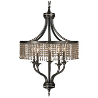 HA Framburg Princessa 5 Light Chandelier in Mahogany Bronze w/ Ebony Accents & Teak Crystal 1495MB