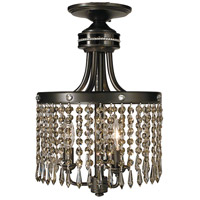 Princessa 3 Light 10 inch Mahogany Bronze with Ebony Semi-Flush Mount Ceiling Light in Without Crystal