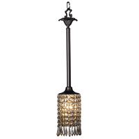 Princessa 1 Light 4 inch Mahogany Bronze with Ebony Pendant Ceiling Light in Teak Crystal