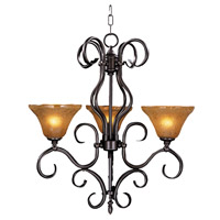 HA Framburg Black Forest 3 Light Chandelier in Mahogany Bronze/Cognac Piastra 1753MB